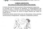 CORSO GRATUITO DI LINGUA IATALIANA PER STRANIERI.